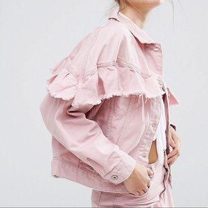 Pink ruffle denim jacket